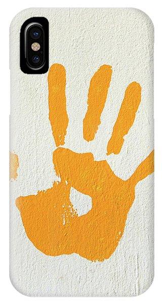 Orange Handprint On A Wall IPhone Case