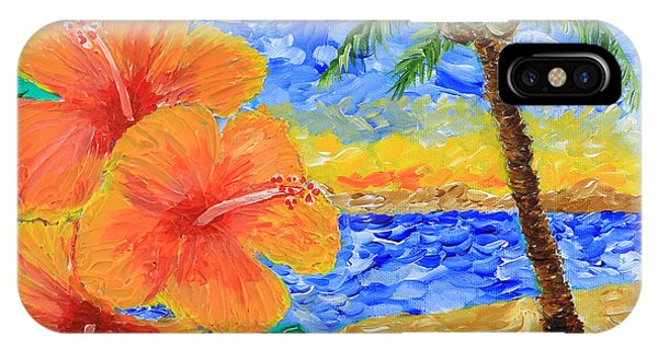 Orange Hibiscus Coconut Tree Sunrise Tropical Beach Painting IPhone Case