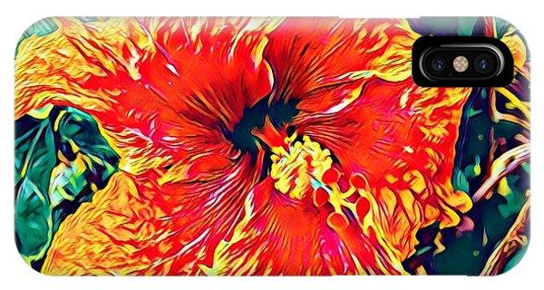 Orange Hibiscus In Crepe - Full View IPhone Case