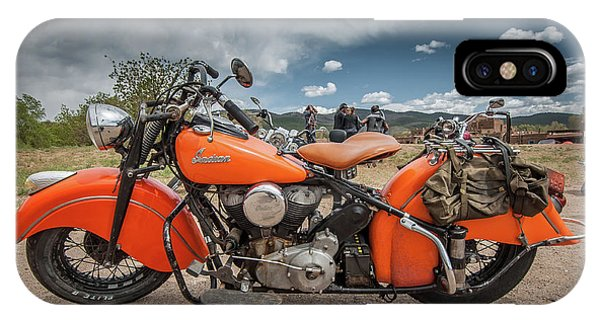 IPhone Case featuring the photograph Orange Indian Motorcycle by Britt Runyon