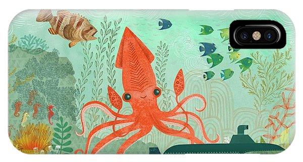 Aquatic Plants iPhone Case - Orange Octopus Underwater With Submarine by Gillham Studios