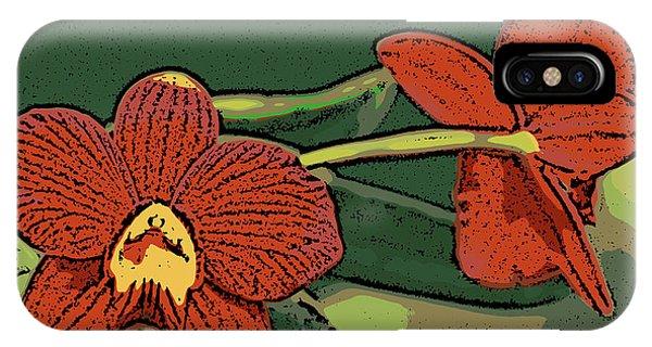 Orange Orchids IPhone Case