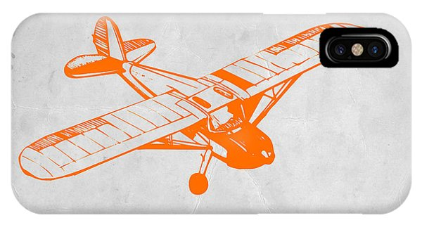 Airplane iPhone Case - Orange Plane 2 by Naxart Studio