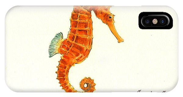Orange Seahorse IPhone Case