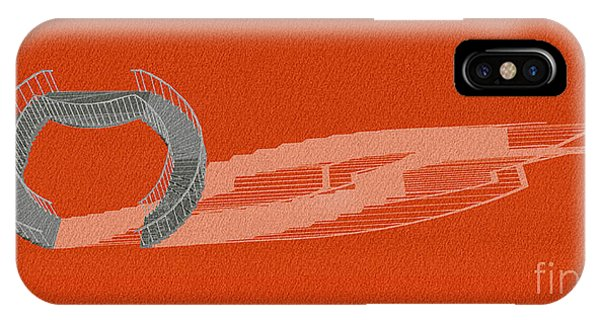 Empire State Building iPhone Case - Orange Stair 46 And It Negative Shadow by Drawspots Illustrations