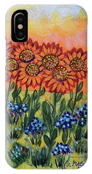 Orange Sunset Flowers IPhone Case