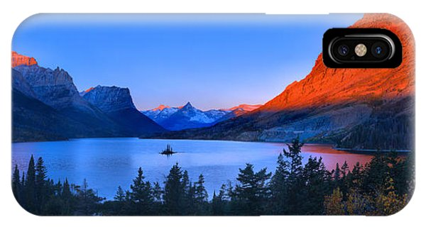 Rocky Mountain Np iPhone Case - Orange Sunrise Peaks Over St Mary by Adam Jewell