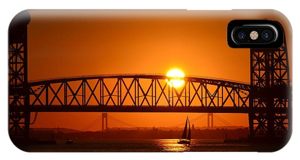 Orange Sunset Brooklyn Bridges Sailboat IPhone Case