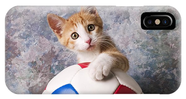 Eye Ball iPhone Case - Orange Tabby Kitten With Soccer Ball by Garry Gay