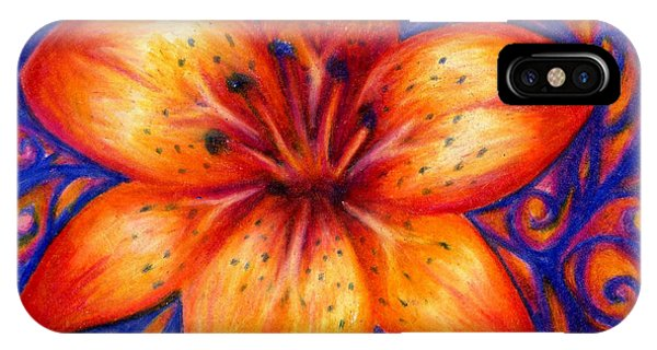Orange Tiger Lily Drawing IPhone Case