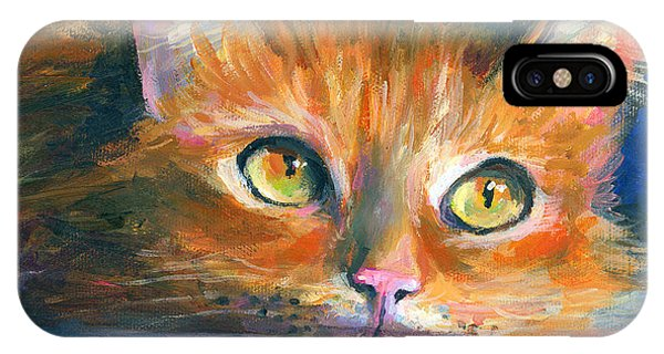 Orange Tubby Cat Painting IPhone Case