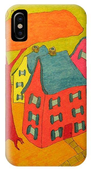 Orange Umbrella Tree And Three Homes IPhone Case
