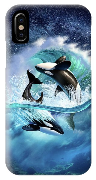 Dolphin iPhone Case - Orca Wave by Jerry LoFaro