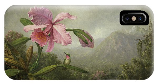 Humming Bird iPhone Case - Orchid And Hummingbird Near A Waterfall by Martin Johnson Heade