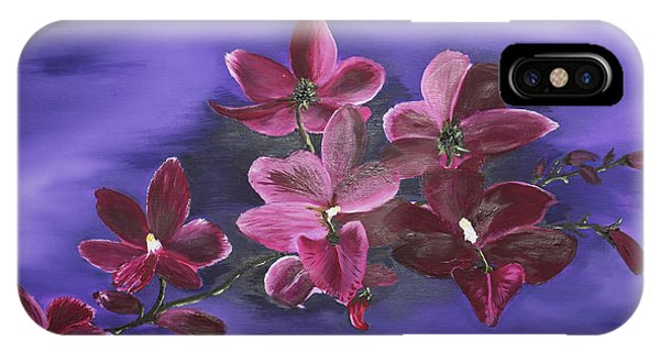 Orchid Blossoms On A Stem IPhone Case