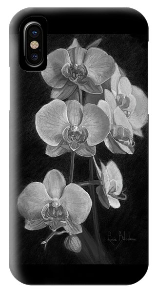 Orchid iPhone X Case - Orchids - Black And White by Lucie Bilodeau