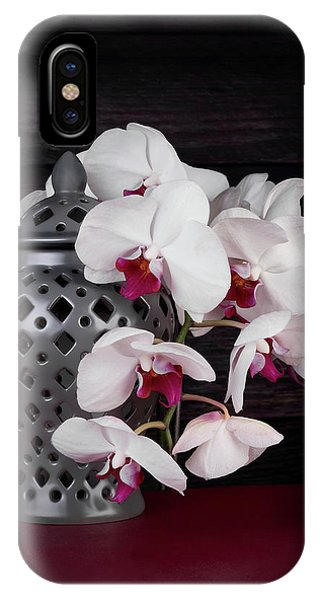 Orchid iPhone X Case - Orchids With Gray Ginger Jar by Tom Mc Nemar