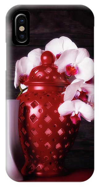 Orchid iPhone X Case - Orchids With Red And Gray by Tom Mc Nemar
