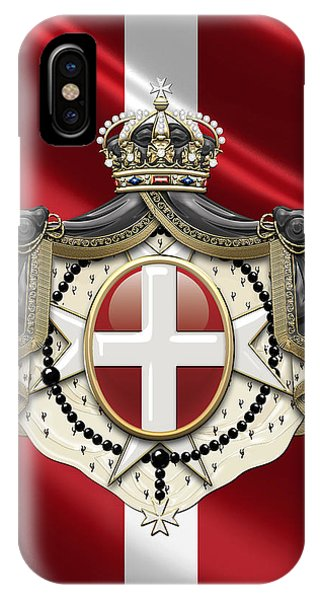 Fantasy iPhone Case - Order Of Malta Coat Of Arms Over Flag by Serge Averbukh