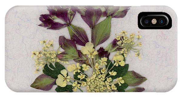 Oregano Florets And Leaves Pressed Flower Design IPhone Case