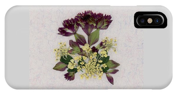 Oregano Florets And Leaves Pressed Flower Design IPhone Case