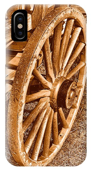 Wagon Wheel iPhone Case - Oregon Trail  - Sepia by Olivier Le Queinec