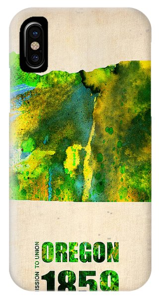 Oregon Watercolor Map IPhone Case