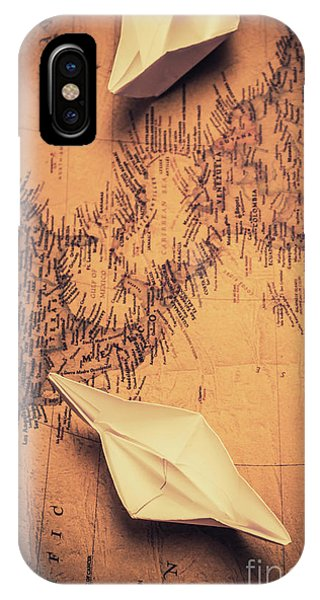 Explorer iPhone Case - Origami Boats On World Map by Jorgo Photography - Wall Art Gallery