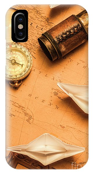 Navigation iPhone Case - Origami Paper Boats On A Voyage Of Exploration by Jorgo Photography - Wall Art Gallery