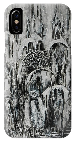 Original Abstract Black And White Painting The Return Of The Angel  Phone Case by Natalya Zhdanova