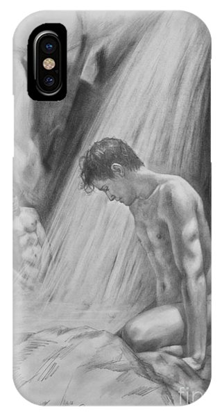 Original Charcoal Drawing Art Male Nude By Twaterfall On Paper #16-3-11-16 IPhone Case