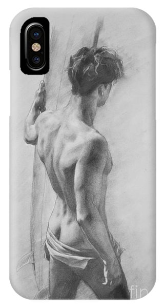 Original Charcoal Drawing Art Male Nude  On Paper #16-3-11-12 IPhone Case