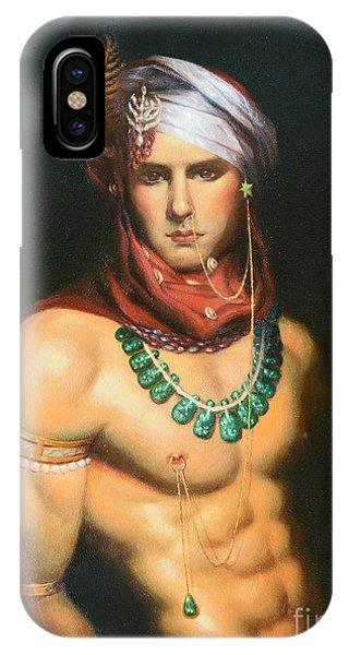 Original Classic Oil Painting Man Body Art-male Nude -068 IPhone Case