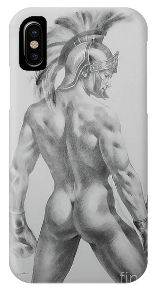 Original Drawing Sketch Charcoal Chalk Male Nude Gay Interst Man Art Pencil On Paper -0040 IPhone Case