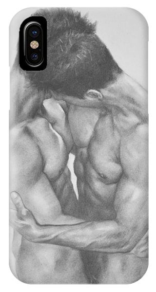 Original Drawing Sketch Charcoal  Male Nude Gay Interest Man Art Pencil On Paper -0041 IPhone Case