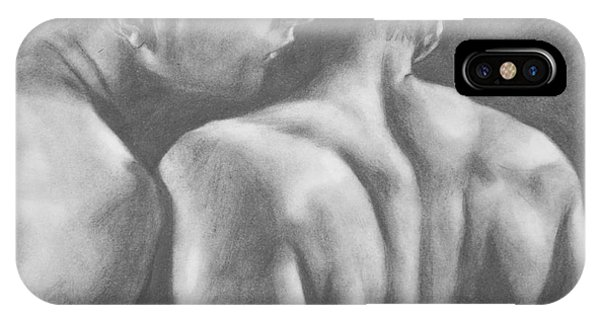 Original Drawing Sketch Charcoal Man Body  Male Nude Gay Interest Man Art Pencil On Paper -0029 IPhone Case
