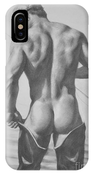 Original Drawing Sketch Charcoal  Pencil Male Nude Gay Interest Man Art Pencil On Paper -0031 IPhone Case