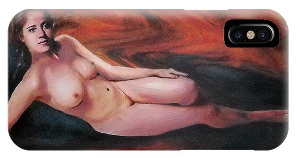 Original Fine Art Female Nude Reclining Background Swirls Of Orange Phone Case by G Linsenmayer