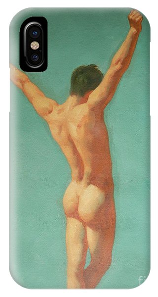 Original Male Nude Oil Painting Gay Boy Art On Linen-0022 IPhone Case