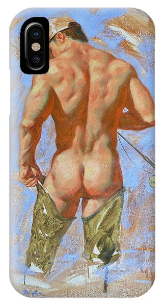 Original Oil Painting Art Male Nude Fisherman On Linen #16-2-20 IPhone Case