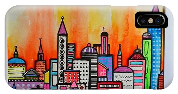 City iPhone Case - Original #watercolor ..fire In The by Robin Mead