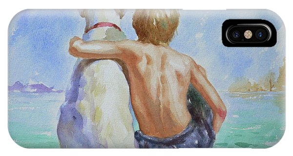 Original Watercolour Painting Nude Boy And Dog On Paper#16-11-18 IPhone Case