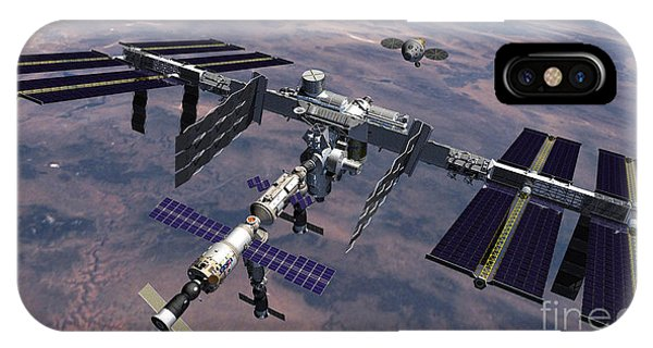 International Space Station iPhone Case - Orion Approaching Iss by Nasa