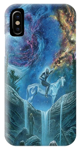 IPhone Case featuring the painting Orome Finds The Lords Of The Elves by Kip Rasmussen