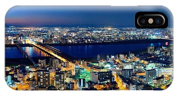 Osaka Night Rooftop View IPhone Case
