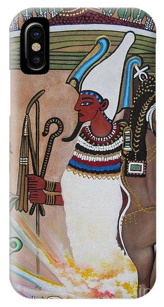 Blaa Kattproduksjoner         Osiris With Goddess Isis And 4 Grandkids IPhone Case