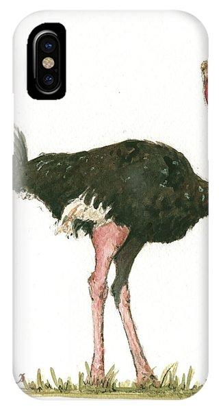Ostrich iPhone Case - Ostrich Bird by Juan Bosco