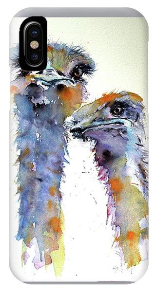 Ostrich iPhone Case - Ostriches by Kovacs Anna Brigitta