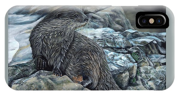 IPhone Case featuring the painting Otter On Rocks by John Neeve