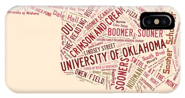 Oklahoma University iPhone Case - Ou Word Art University Of Oklahoma by Roberta Peake
